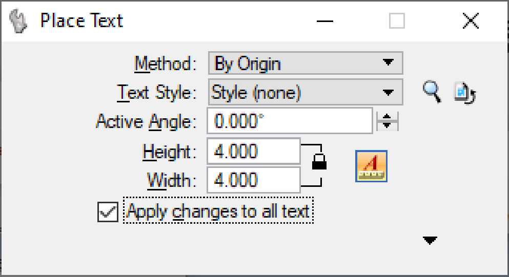 Place Text Settings